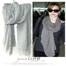 Celebrity OverSize Cotton Crinkle Soft Scarf Wrap Shawl Stole Fringe Gray 2016
