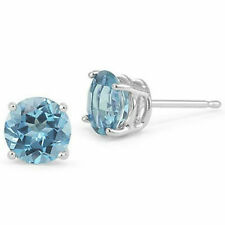 PRECIOUS 2 CARAT SKY BLUE TOPAZ STERLING SILVER EAR STUD EARRINGS