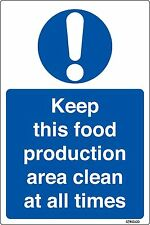 Keep This Food Production Area Clean Kitchen Health & Safety Sticker 140x95mm