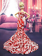 Red White Mermaid Evening Dress Outfit Gown Silkstone Barbie Fashion Royalty