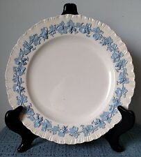 "Wedgwood Embossed Queensware ~ 10"" DINNER PLATE ~ Blue on Off White ~ Shell Edge"
