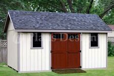 14' x 16' Storage Shed Plans Reverse Gable Roof  #D1416G, Material List Included