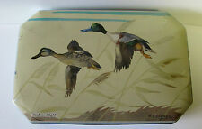 SCARCE GREY DUNN BISCUIT TIN 1950'S TEAL IN FLIGHT BIRD TIN ENGLAND