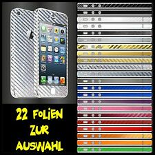 IPHONE 5S FOLIE 2D SILBER CARBON CHROM ( HÜLLE SKIN SCHUTZ CASE HANDY