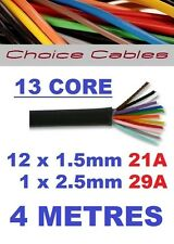 13 CORE AUTO CABLE 4M 1.5mm 21 AMP CAR BOAT LOOM WIRE 4 METRE THINWALL 1.5MM  4M