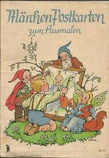 Märchen-Postkarten zum Ausmalen, Buch um 1940 mit Ansichtskarten, signiert Lore