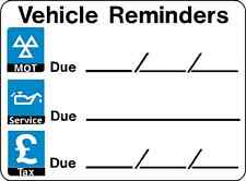2 x MOT DATE & CAR TAX REMINDER STICKERS VEHICLE REMINDERS SERVICE DUE DATE