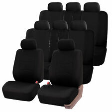 Black 3Row SUV Split bench Car Seat Covers Full Set For Honda Toyota more