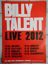 BILLY TALENT 2012  TOUR  orig.Concert-Konzert-Tour-Poster-Plakat DIN A1