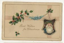 Best Wishes for Christmas SANTA CLAUS in Shield Vintage Christmas Postcard