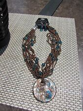 Turquoise and Bronze Disk Choker Style Necklace with Matching Beaded Earrings