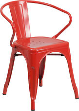 RED INDOOR-OUTDOOR RESTAURANT METAL DINING CHAIR WITH ARMS