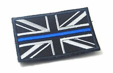 "UNION JACK UK FLAG THIN BLUE LINE POLICE SEW ON PATCH 3 X 2"" P157"