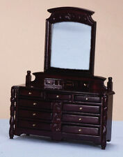 Mahogany Dresser With Drawers & Mirror, Miniature Furniture, Bedroom Dollhouse