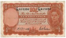 Australia 1942 Armitage / McFarlane General Prefix 10 Ten Shillings Note VF