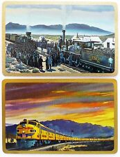 PAIR SWAP CARDS. UNION PACIFIC RAILROAD CENTENNIAL SET 1969. STEAM & DIESEL LOCO