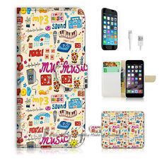 "iPhone 6 (4.7"") Print Flip Wallet Case Cover! Music Pattern Icon P1444"