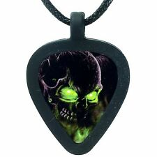 GUITAR PICK Necklace by Pickbandz PICK HOLDER in Black w/ LTD Glowing Skull Pick