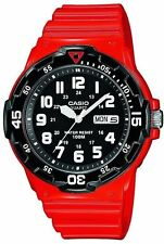 Mens Casio Red Rubber Black Dial Divers Day and Date Sport Watch MRW200HC-4BV