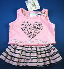 BUILD-A-BEAR NEW STRIPED SKIRT SET PINK HEART TOP & TUTU TEDDY CLOTHES OUTFIT
