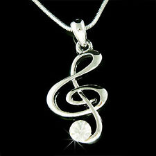 CLEAR w Swarovski Crystal ~TREBLE CLEF Musical MUSIC NOTE Pendant Charm Necklace