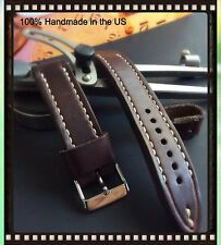 Müller&Son Genuine Horween Leather 20 mm Brown Watch Strap Custom Made in USA