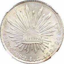 """Mexico 8 Reales Zs 1882 J.S. Zacatecas, NGC MS64. Straight """"J"""". KM# 377.13"""