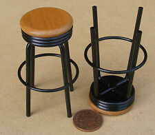 1:12 Scale 2 Tall Black Bar Stools Dolls House Miniature Pub Furniture Accessory