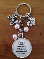 Wedding MOTHER OF THE BRIDE Keyring Keepsake Favour Gift ANY WORDING ANY COLOURS