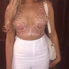 Vintage French Lace Embellished Crop Love Top Sparkle Bralet Lemon Barbie Pink