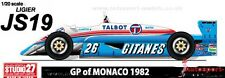 1/20 1982 Ligier JS19 Matra Lafitte / Cheever decal set ~ Studio 27 SDF20307