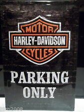 HARLEY DAVIDSON MOTORCYCLES PARKING ONLY- EMBOSSED (3D) METAL SIGN  30x20cm