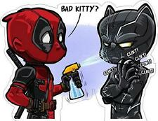 Deadpool Black Panther Bad Kitty Vinyl Sticker