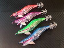 4x PFS LED Squid Jig Egi Squid Jigs Fishing Tackle Lures #2.5 10cm 13g Saltwater