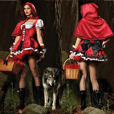 Sexy Little Red Riding Hood Adult Womens Fancy Cosplay Dress Carnival Costume