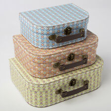 Vintage Suitcases Set of 3 Storage Boxes - Summer Retro Daisy