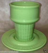 MONKEY & THE PEDDLER LIZ ROSS BIA GREEN COLORED ICE CREAM CONE SUNDAE CUP 12 OZ