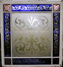 c1850 two glass window, cut glass to clear ruby, cobalt, clear, heart, tulip, 7'