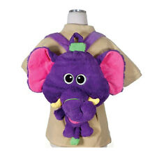 "Backpack 17"" Plush Big Head Elephant Happy Kritters Purple NEW"