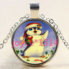 Christmas Penguin Cabochon Tibetan silver Glass Chain Pendant Necklace #2880