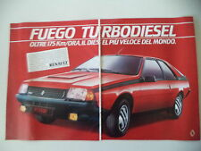 advertising Pubblicità 1983 RENAULT FUEGO TURBO DIESEL