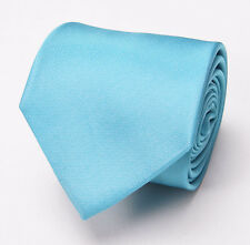 New $145 PAUL SMITH Extrafine Woven Silk Tie Solid Aqua-Turquoise Blue Italy