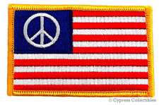 AMERICAN FLAG iron-on BIKER PATCH PEACE SIGN SYMBOL embroidered 1960s LOGO