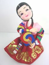 Korea Vintage Kneeling Girl with Fan Doll,Hand Painted Face,Hanbok Red Silk 7""