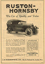 1919 Old Original Vintage RUSTON-HORNSBY Touring Car Automobile CAR Art Print AD