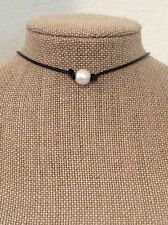 Leather Pearl Choker Pearl Leather Choker Leather Pearl Necklace