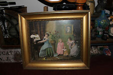 Antique Victorian Print Girls Playing Piano-Colorful-Gilded Wood Frame-Dresses