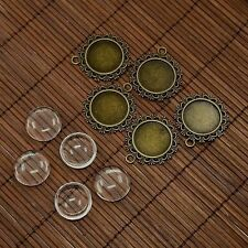5sets 20mm Clear Domed Glass Cabochon Cover Alloy Blank Pendant Portrait Setting