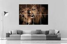 LIONS SAUVAGE SAVAGE Wall Art Poster Grand format A0 Large Print
