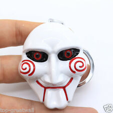 New in Box Saw movie Movie theme Saw Mask Metal Keyring Keychain White Color